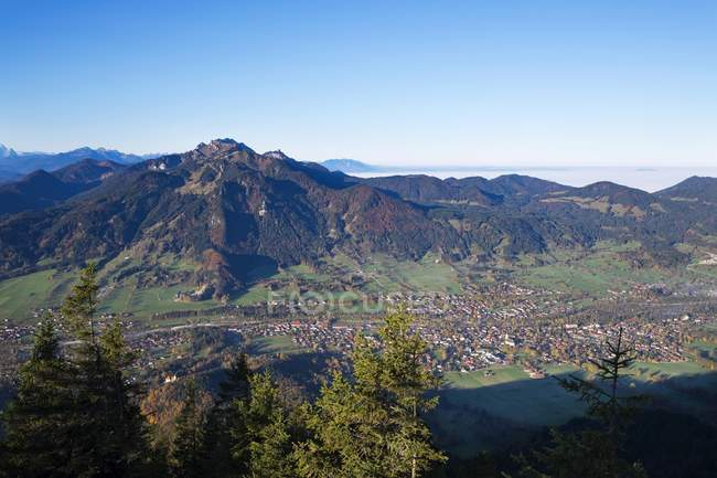 Aerial view from Geierstein mountain over Lenggries and Brauneck, Isarwinkel, Upper Bavaria, Bavaria, Germany, Europe — Stock Photo