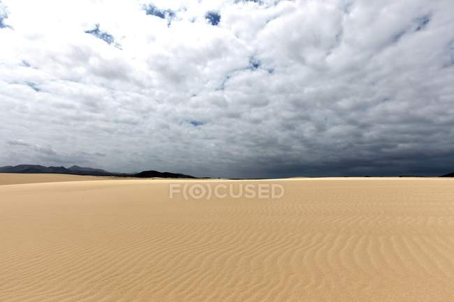 Sand dunes of wandering dunes of El Jable, Las Dunas de Corralejo, Corralejo Natural Park with dramatic cloud formation, Fuerteventura, Canary Islands, Spain, Europe — Stock Photo
