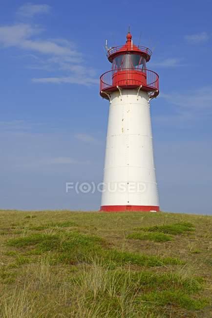 Lighthouse List West on grassy shore, Ellenbogen, Sylt, North Frisian Islands, North Frisia, Schleswig-Holstein, Germany, Europe — Stock Photo