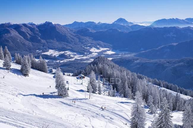 Brauneckalm ski resort of Brauneck, Lenggries, Isarwinkel, Upper Bavaria, Bavaria, Germany, Europe — Stock Photo