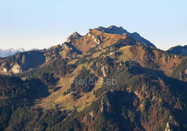 Brauneck mountain with Latschenkopf and Benediktenwand, Lenggries, Isarwinkel, Upper Bavaria, Bavaria, Germany, Europe — Stock Photo