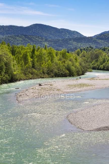 Річка ІСАР тече в Lenggries, Isarwinkel, Верхня Баварія, Баварія, Німеччина, Європа — стокове фото