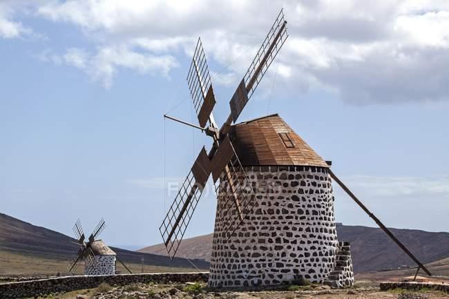 Windmills in Villaverde, Molino de Villaverde, Fuerteventura, Canary Islands, Spain, Europe — Stock Photo
