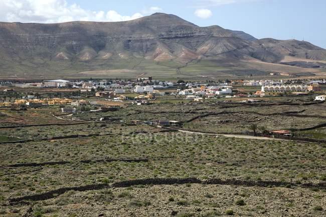 Landschaft von La Oliva Felder und Vulkanberge, Fuerteventura, Kanarische Inseln, Spanien, Europa — Stockfoto