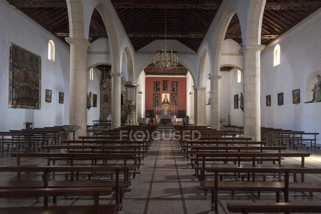 Interior da capela de Iglesia de Nuestra Senora de la Candelaria, La Oliva, Fuerteventura, Ilhas Canárias, Spain, Europa — Fotografia de Stock