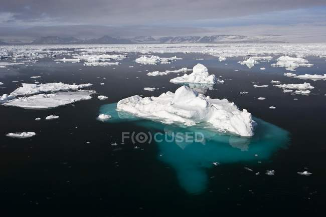 Ice floes in dark cold water of Spitsbergen, Norway, Europe — Stock Photo