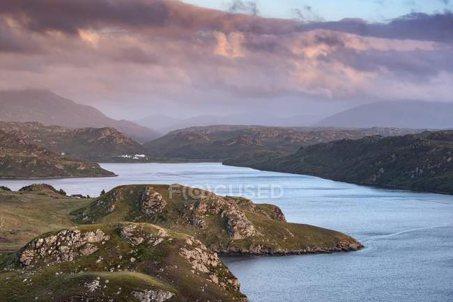 Cloudy atmosphere over sea inlet Loch Inchard, Kinlochbervie, Sutherland, North-West Highlands, Scotland, United Kingdom, Europe — Stock Photo