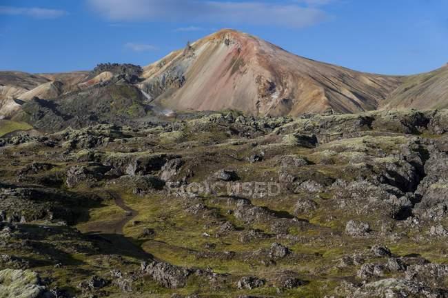 Brennisteinsalda volcano with rhyolite mountains and Laugahraun lava field, Landmannalaugar, Fjallabak Nature Reserve, Highlands, Iceland, Europe — Stock Photo