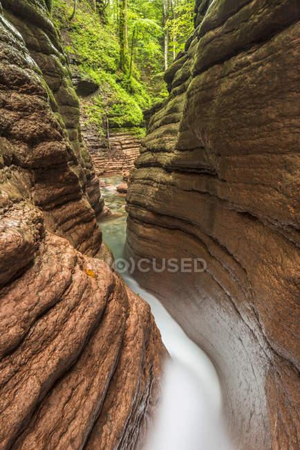 Декорации ущелья Тауглбах с водным потоком, Тауглбахклам, Халлейн, Зальцбург, Австрия, Европа — стоковое фото