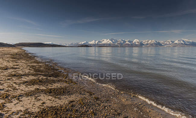 Beach and mountains, Holmbugt, Kong Oscar Fjord, Northeast Greenland National Park, Greenland, North America — Stock Photo