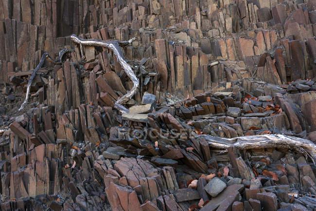 Basalt columns at Twyfelfontein, Kunene Region, Namibia, Africa — Stock Photo