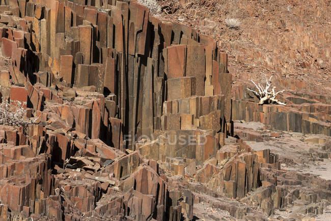 Basalt columns rocks at Twyfelfontein, Namibia, Africa — Stock Photo