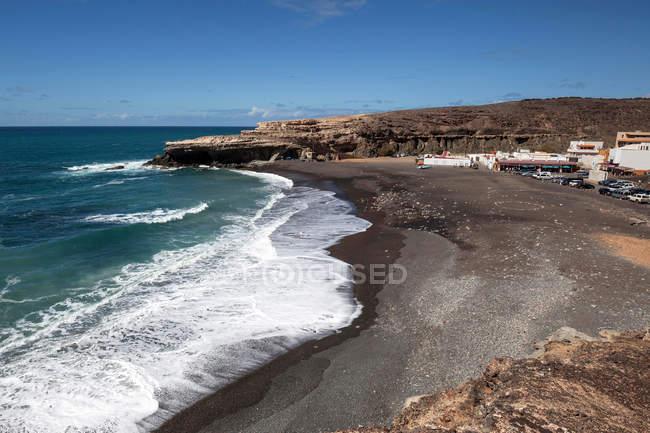 Vila piscatória Ajuy à praia Playa de los Muertos, Fuerteventura, Ilhas Canárias, Spain, Europa — Fotografia de Stock