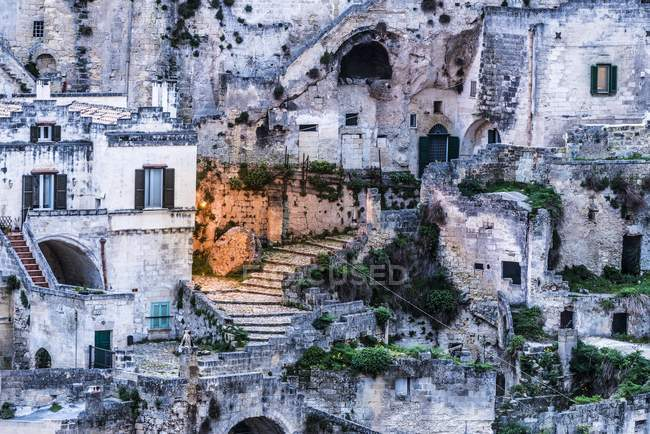 Old town district at dusk, Matera, Basilicata, Italy, Europe — Stock Photo