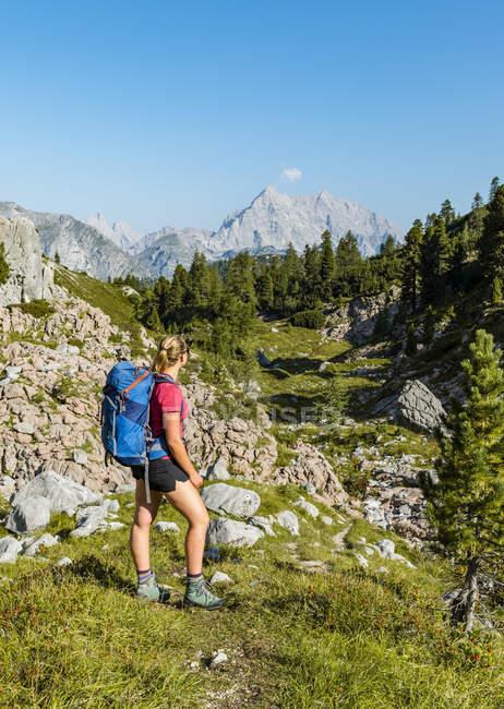 Junge weibliche Wanderer mit Rucksack auf Wanderweg in Funtenseetauern, Watzmann, Nationalpark Berchtesgaden, Upper Bavaria, Bayern, Deutschland, Europa — Stockfoto