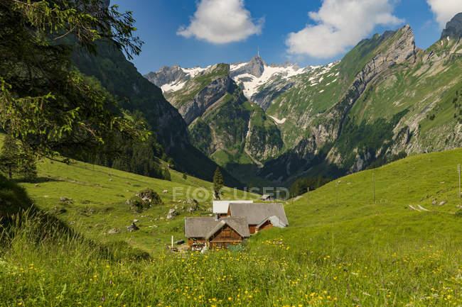 Дом на лето Полонина в Сантис саммита, Wasserauen, Аппенцелль, Швейцария, Европа — стоковое фото
