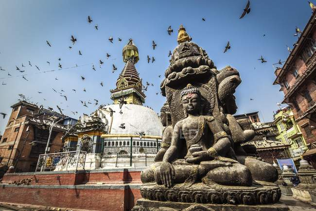 Low angle view of pigeons over Kathesimbhu Stupa and Buddha Statue, Kathmandu, Nepal, Asia — Stock Photo