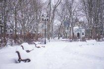 Calle con bancos de nieve - foto de stock