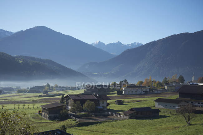 Small village in the austrian alps during morning, Imst, Austria — Stock Photo