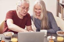 Coppia anziana utilizzando il computer portatile — Foto stock