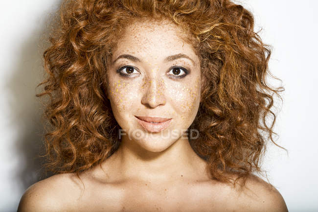 Woman with freckles on face — Stock Photo