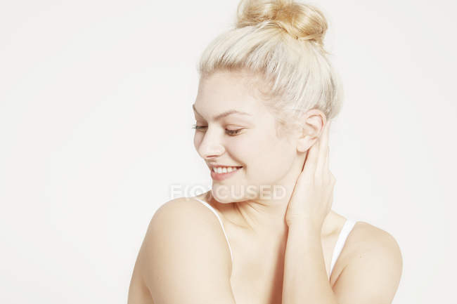 Model with hair bun posing — Stock Photo