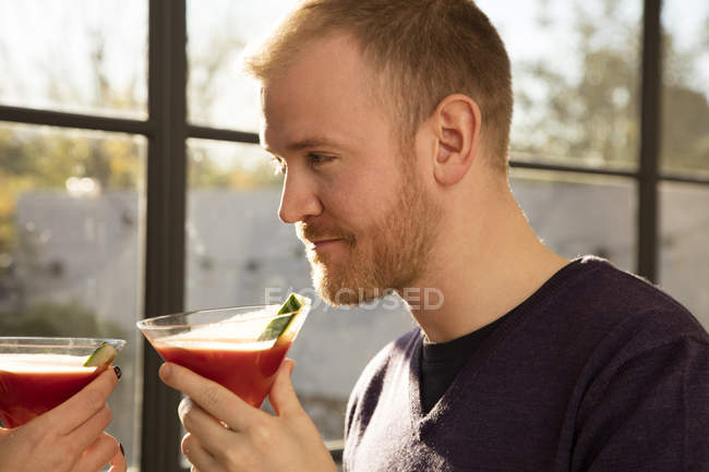 Man with Bloody Mary — Stock Photo