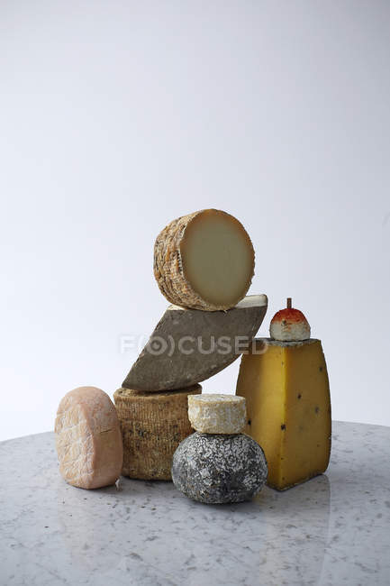 Still life of various cheeses — Stock Photo