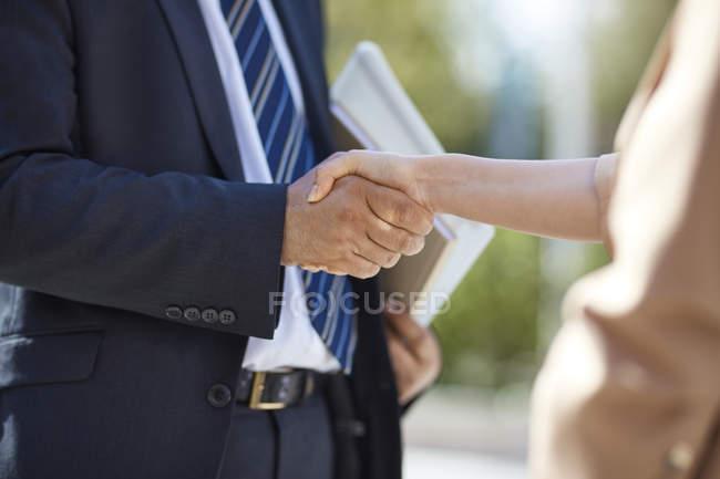 Geschäftsfrau und Geschäftsfrau beim Händeschütteln — Stockfoto