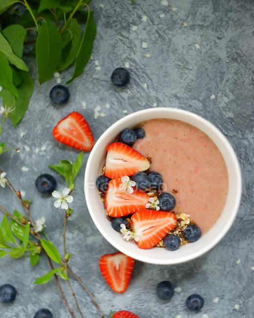 Чаша мюслів, йогуртів, чорниця і вівса — стокове фото