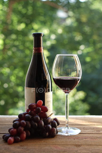 Бутылка, стакан вина и винограда — стоковое фото