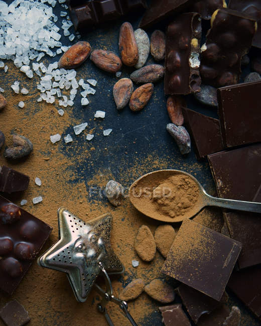 Chocolate, cacao en polvo, frutos secos y sal - foto de stock
