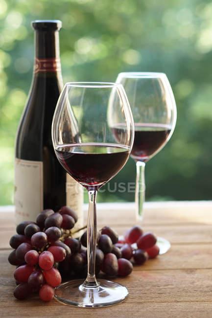 Два бокала красного вина и винограда — стоковое фото