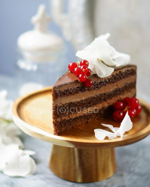 Bolo de chocolate no carrinho — Fotografia de Stock