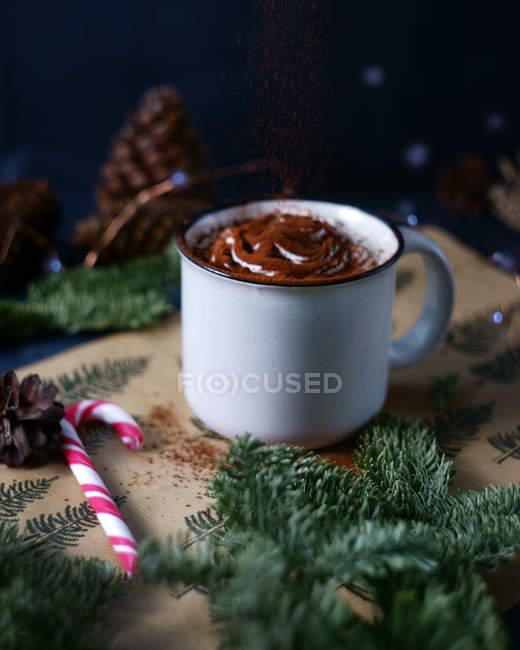 Detailansicht der Latte in Metall-Becher mit Schokoladenpulver, Zuckerstange und Tanne Äste — Stockfoto