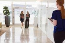 Mujeres de negocios en pie discutiendo - foto de stock