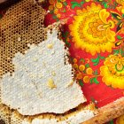 Honeycomb on colourful patterned — Stock Photo