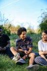 Группа друзей, сидящих на траве — стоковое фото