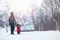 Madre e hija, caminando - foto de stock