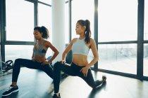 Zwei junge Frauen im Fitness-Studio trainieren — Stockfoto
