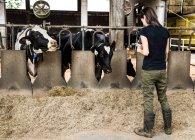 Женщина-фермер смотрит на смартфон — стоковое фото