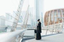 Бізнес-леді з багажем візок — стокове фото
