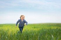 Мальчик бежит в траве — стоковое фото