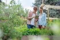 Man and woman in urban garden — Stock Photo