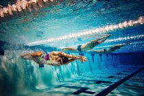 Swimmers doing freestyle in lane — Stock Photo