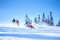 Male and female skiers — Stock Photo