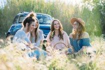 Freunde im hohen Gras picknicken — Stockfoto