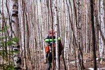 Турист Пешие прогулки через деревья — стоковое фото