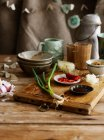 Onions, peppers, and soy sauce — Stock Photo