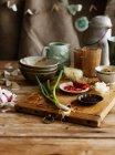 Oignons, poivrons et sauce de soja — Photo de stock